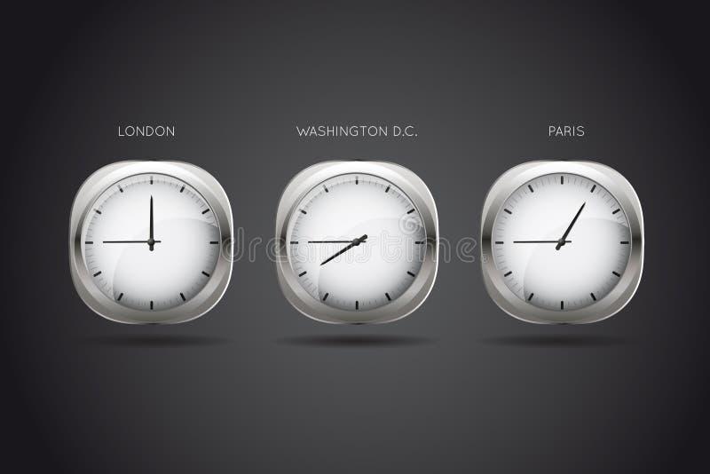 Relojes mecánicos que visualizan tiempo en tres CIT grande ilustración del vector