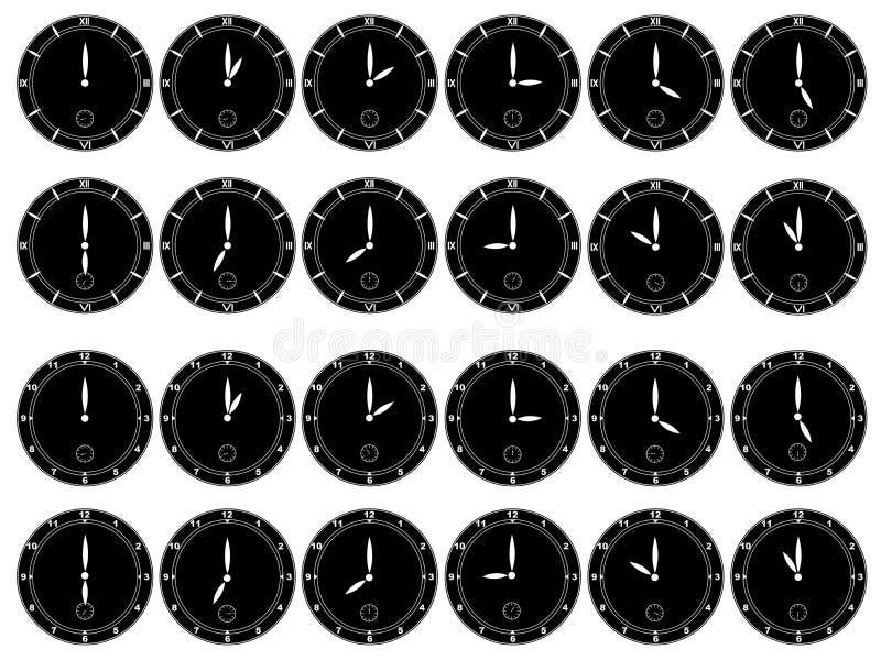 Relojes negros en el fondo blanco stock de ilustración