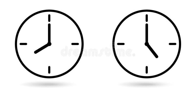Relojes que muestran el fondo blanco aislado horas de trabajo libre illustration