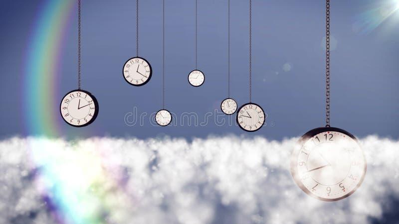 Relojes sobre las nubes en el cielo stock de ilustración