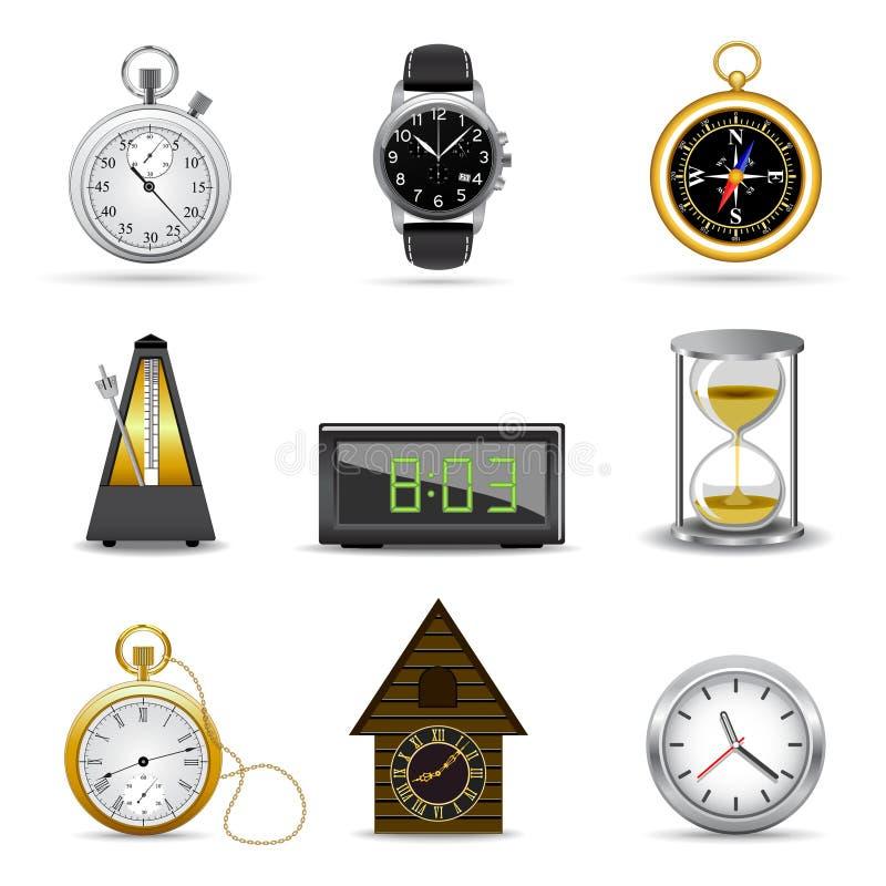 Relojes y temporizadores stock de ilustración