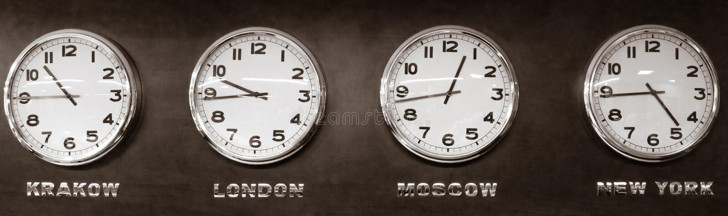 Relojes - zona horaria foto de archivo