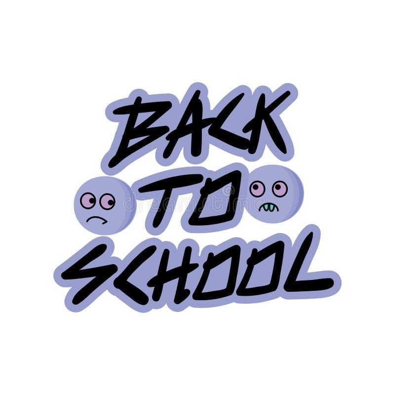 Relutância a ir à escola, à escola do conceito do logotipo e aos monstro ilustração stock