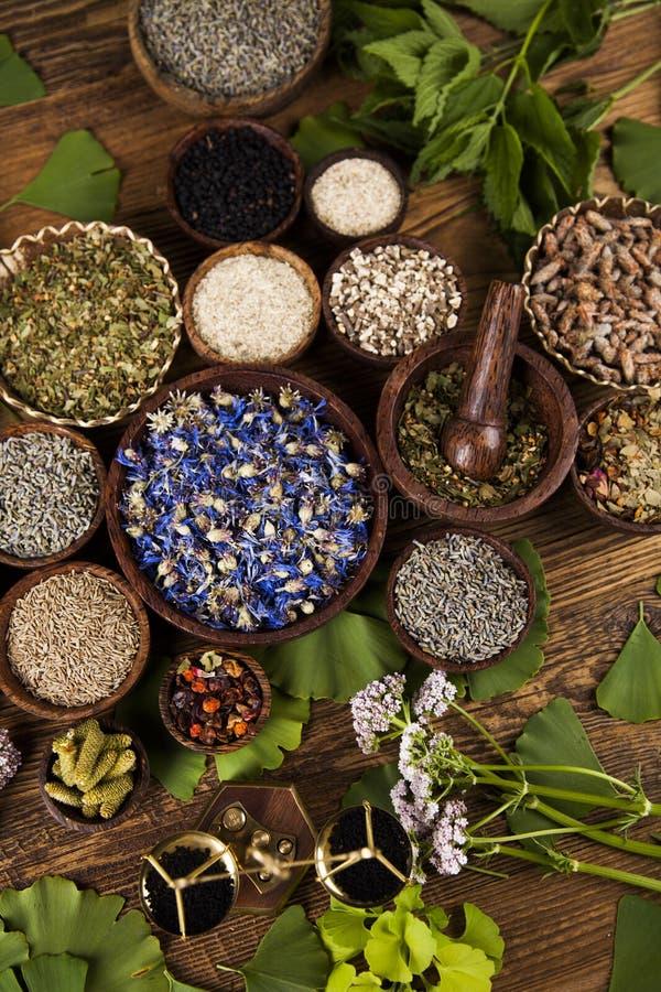 Remède naturel, phytothérapie et fond en bois de table images stock