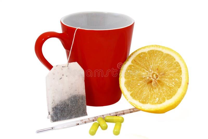 Remèdes rapides pour un froid et une grippe photos libres de droits