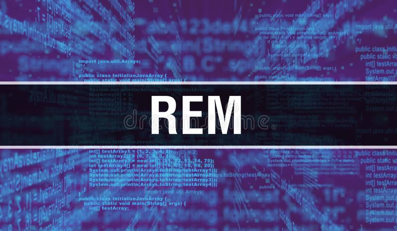 REM with Digital java code text. REM and Computer software coding vector concept. Programming coding script java, digital program. Code with REM on screen royalty free stock photo