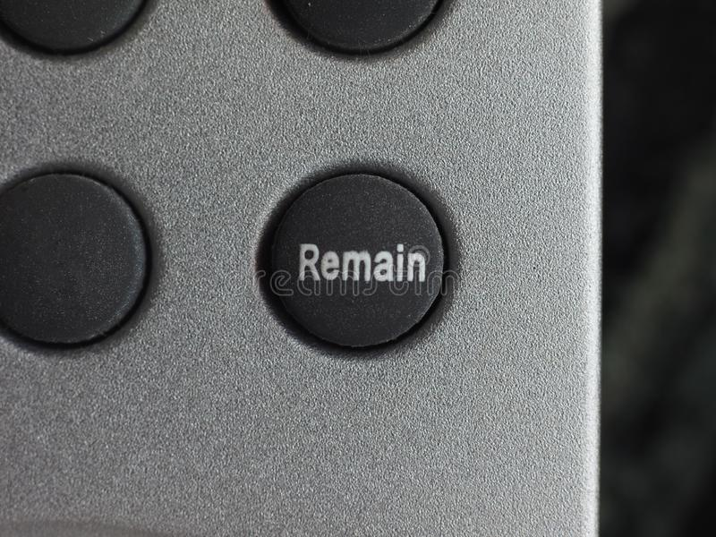 Remain button (Brexit. Remain button. All current polls show that the British would vote remain, should a new referendum called people's vote occur to exit the royalty free stock photography