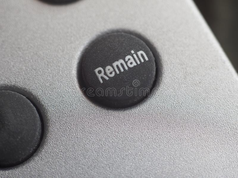Remain button (Brexit. Remain button. All current polls show that the British would vote remain, should a new referendum called people's vote occur to exit the royalty free stock images