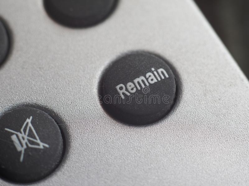 Remain button (Brexit. Remain button. All current polls show that the British would vote remain, should a new referendum called people's vote occur to exit the royalty free stock photo