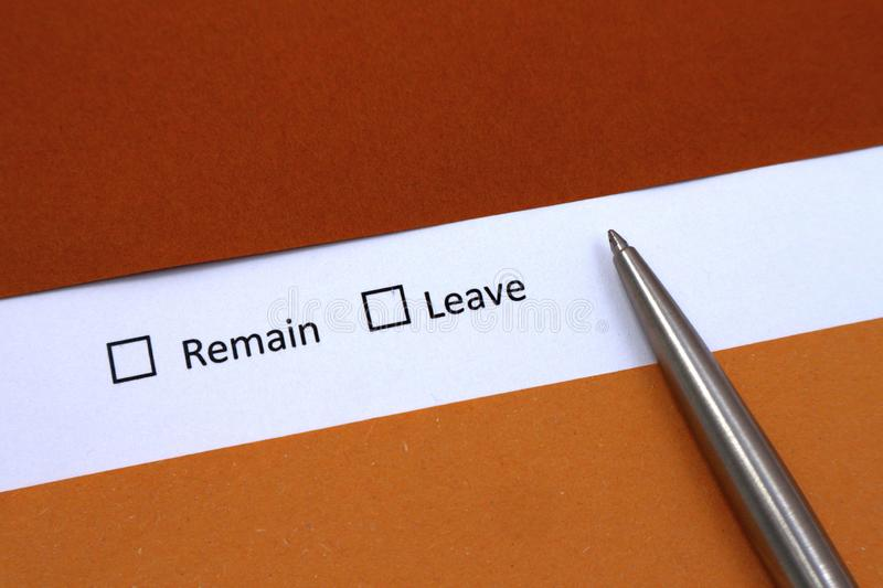 Remain or Leave choice. Test question royalty free stock photos