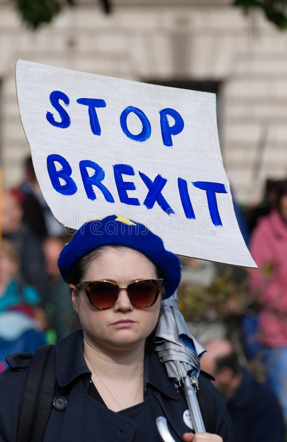An anti Brexit demonstrator in Parliament Square, London UK  on Saturday 19 October 2019. A remainer protesting against Brexit on Oct 19 2019 in Westminster stock photo