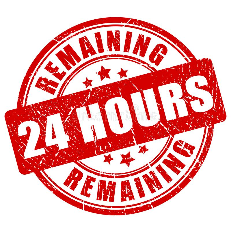 Remaining 24 hour stamp royalty free illustration