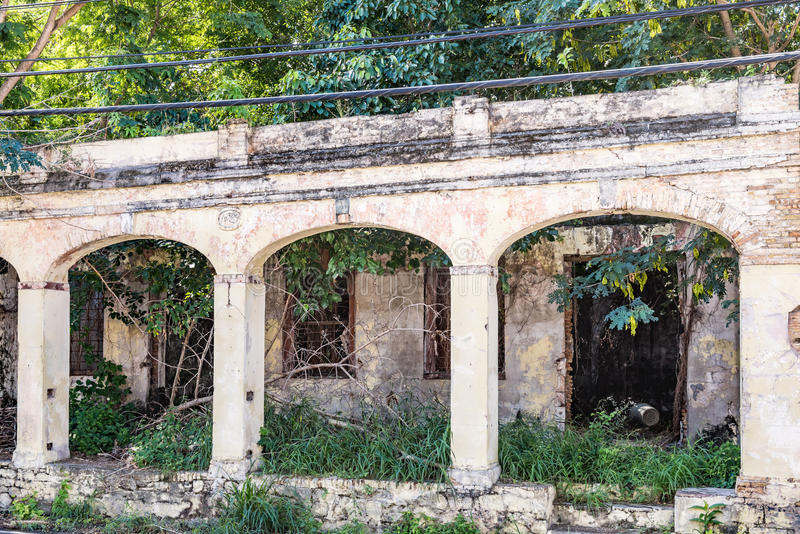 Remains of abandoned building. In Christiansted St. Croix with three archways royalty free stock images