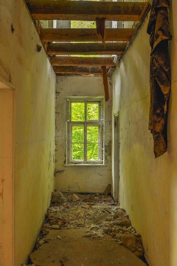 Dark Room Interior With Damaged Roof Stock Image Image