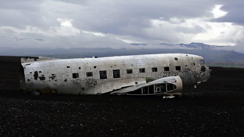 Abandoned plane wreck DC3, Solheimasandur beach, Iceland royalty free stock image