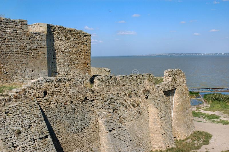 The remains of the Akkerman Fortress. Overlooking the on the Dniester estuary leading to the Black Sea, Belgorod-Dnestrovsky, Ukraine. Unesco heritage stock photos