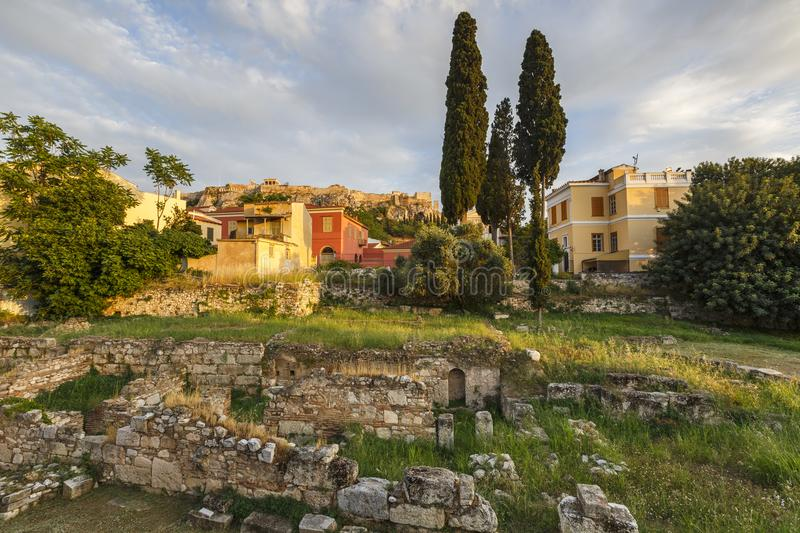 Remains of ancient Athens and Acropolis. stock photo
