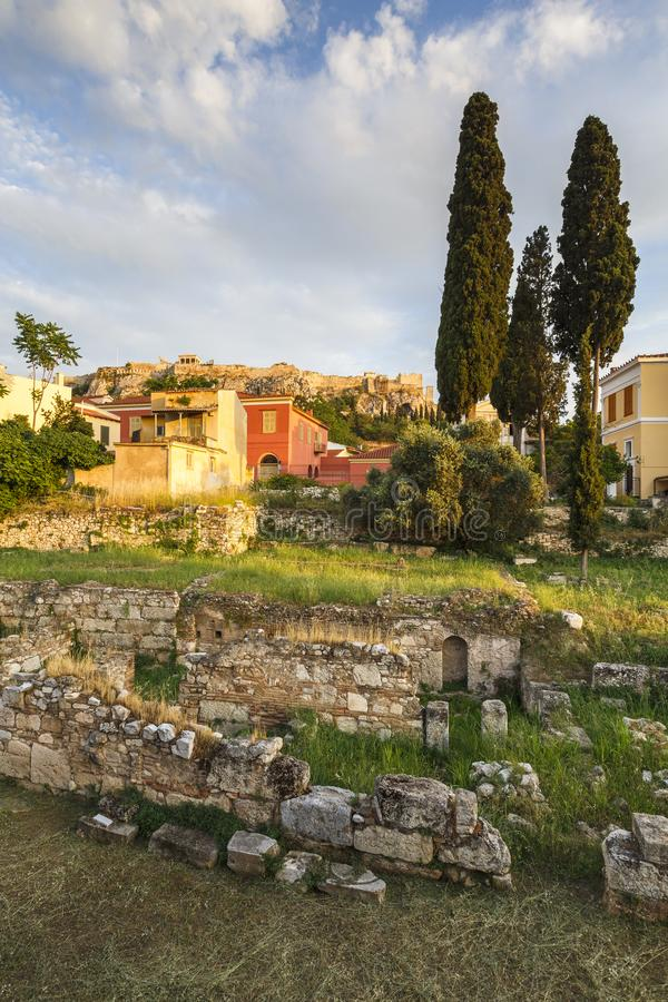 Remains of ancient Athens and Acropolis. stock photos