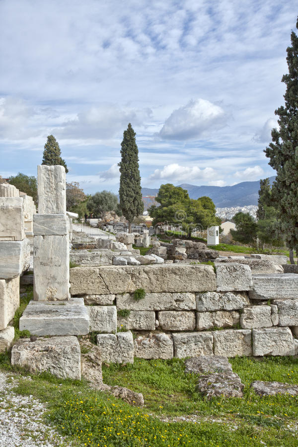 Remains of ancient buildingsin the Acropolis of Athens surrounding area stock photography