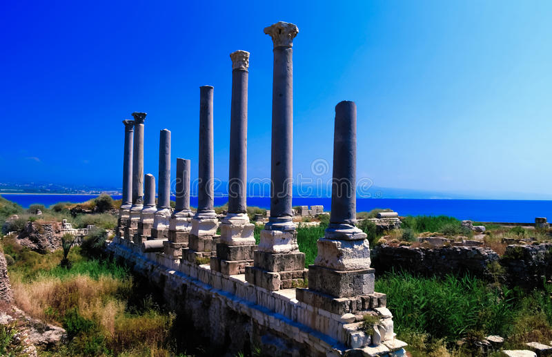 Remains of ancient columns at Al Mina excavation site in Tyre, Lebanon royalty free stock image