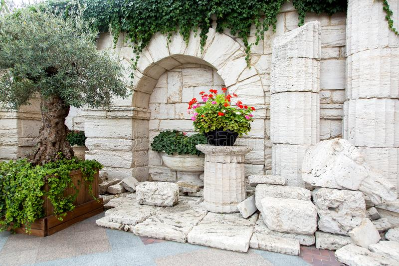 Remains of an ancient excavation stone architectural finds monument outdoor. Remains of an ancient excavation stone architectural finds monument outdoor with stock photos