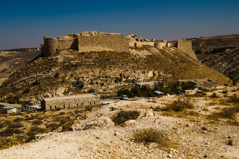 Remains ancient impressive castle on mountain. Shobak crusader fortress. Castle walls. Travel concept. Jordan architecture and royalty free stock images