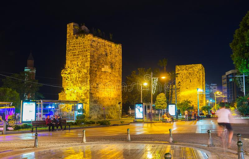 Remains of city wall in evening lights, Antalya, Turkey royalty free stock image