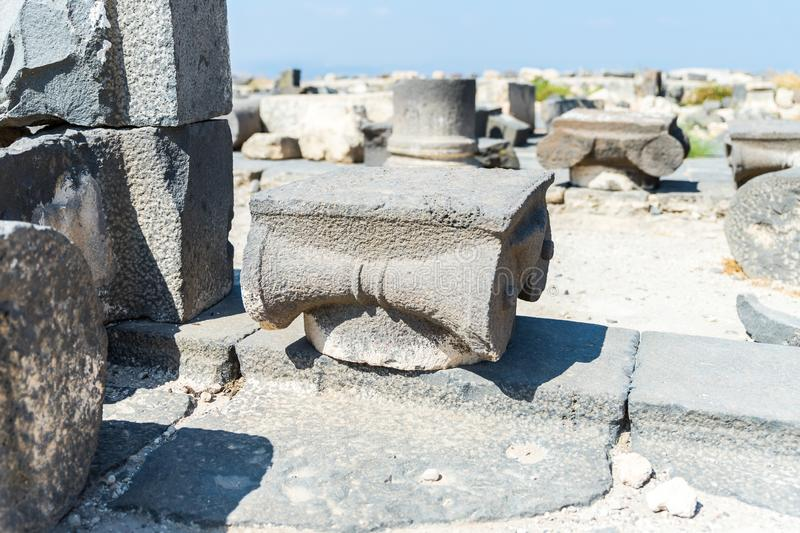 The remains of the column in the ruins of the Greek - Roman city of the 3rd century BC - the 8th century AD Hippus - Susita on the stock image