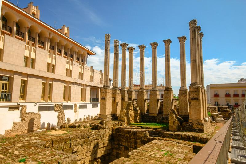 The remains of Cordoba's great Roman temple Cordova Spain Espana Andalucia. Cordoba Andalusia Spain. April 4 2015. The remains of Cordoba's great royalty free stock photos