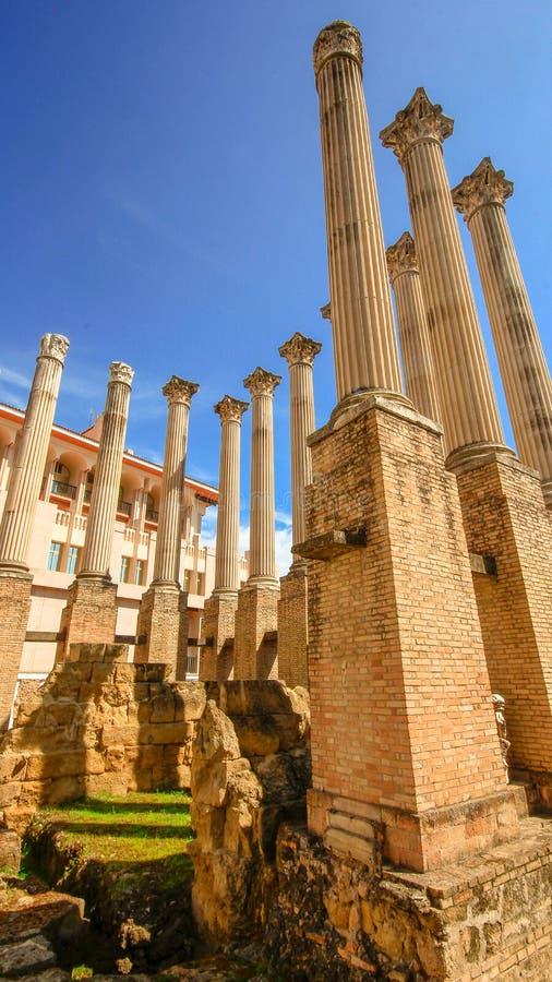 The remains of Cordoba's great Roman temple Cordova Spain Espana Andalucia. Cordoba Andalusia Spain. April 4 2015. The remains of Cordoba's great royalty free stock photo