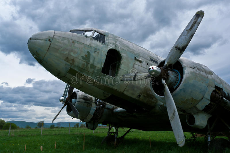 Remains of a Dakota DC3 aircraft. Abandoned at a small airport in Croatia stock photography