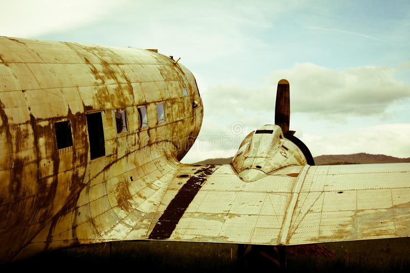 Remains of a Dakota DC3 aircraft. Remains of an abandoned Dakota DC3 aircraft from World War II on an small airport in Croatia royalty free stock image