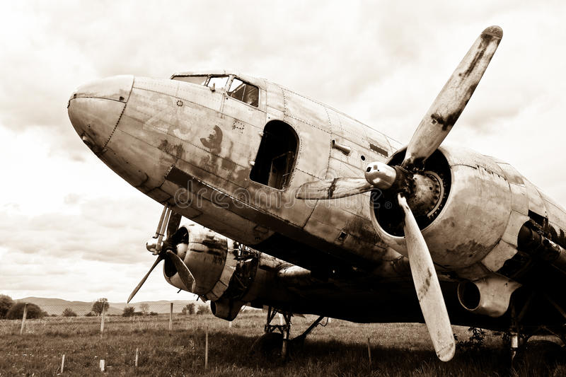 Remains of a Dakota DC3 aircraft. (b&w vintage style royalty free stock images