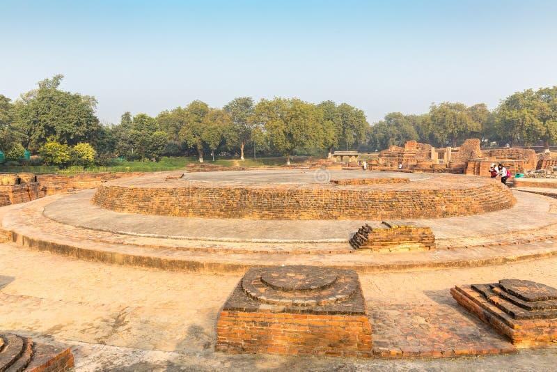 Remains of Dharmarajika Stupa in Sarnath, Varanasi royalty free stock images