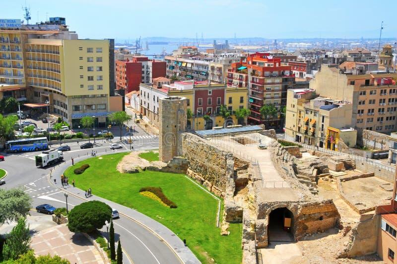 Remains do circo romano de Tarragona, em Spain imagem de stock
