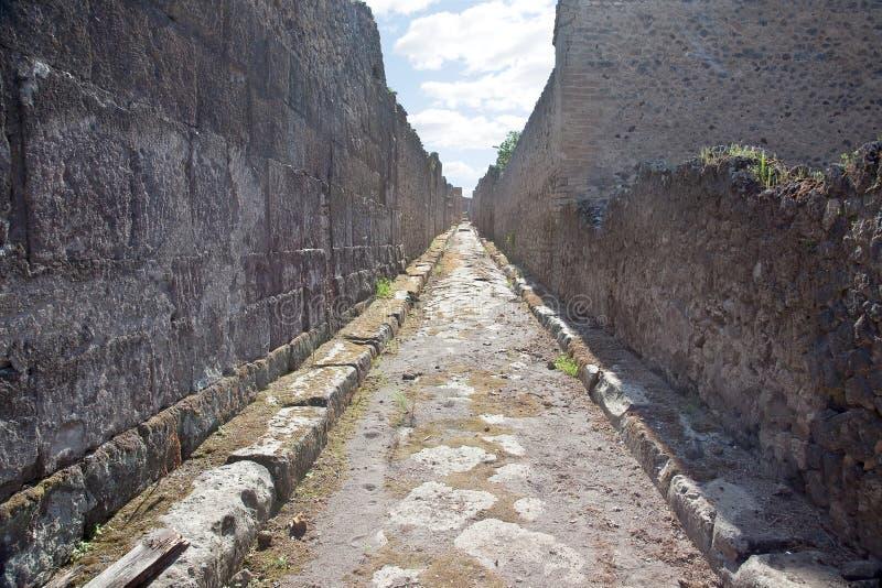 Pompeii. Street. Remains enormous destroyed by a volcano Vesuvius city Pompeii stock photography