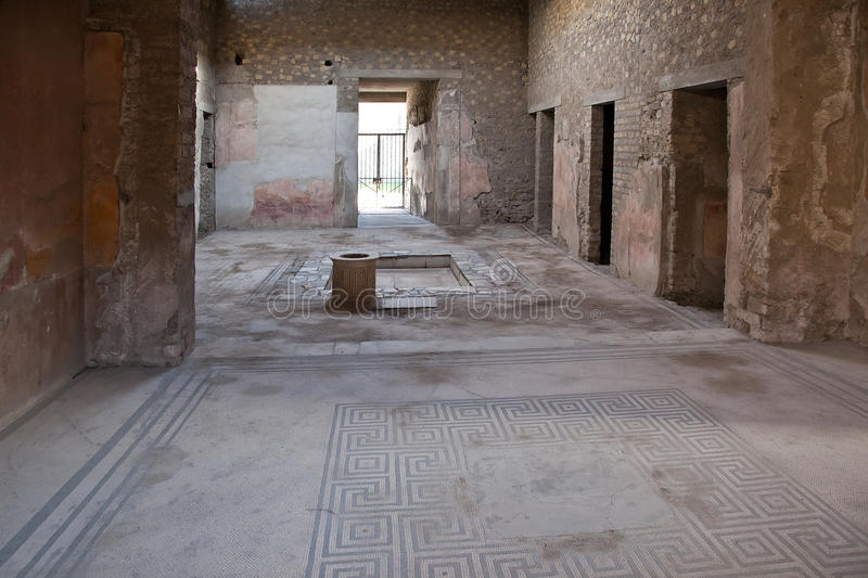 Pompeii. Interior of house. Remains enormous destroyed by a volcano Vesuvius city Pompeii royalty free stock photography