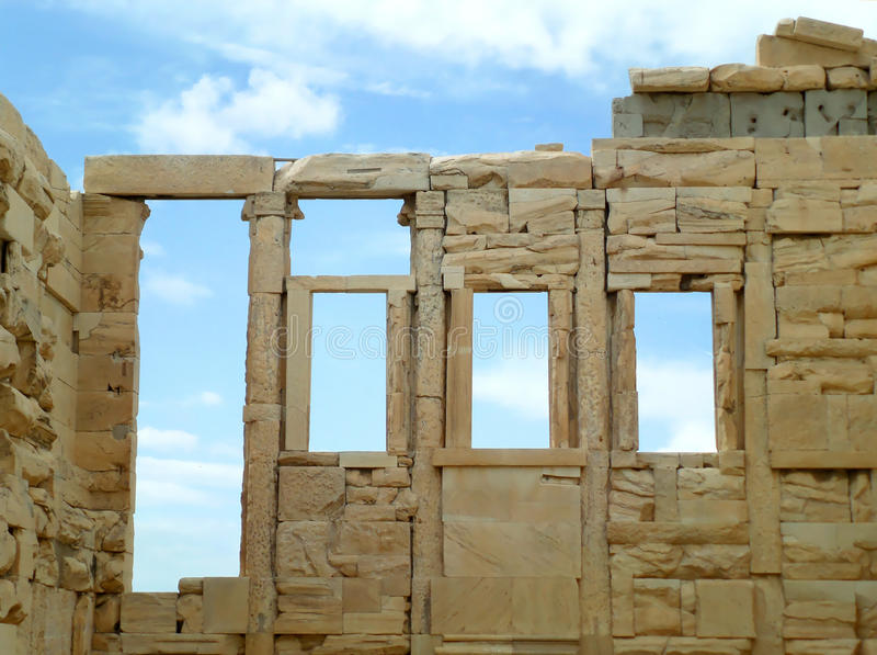 The remains of The Erechtheion & x28;Erechtheum& x29;, an ancient Ionic Temple on the Acropolis of Athens stock photos