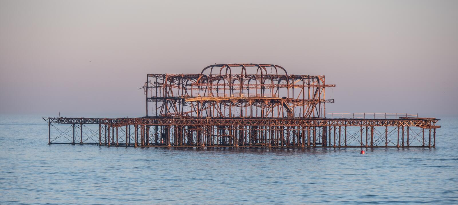 The remains of former Brighton Pier. Travel photography royalty free stock photos