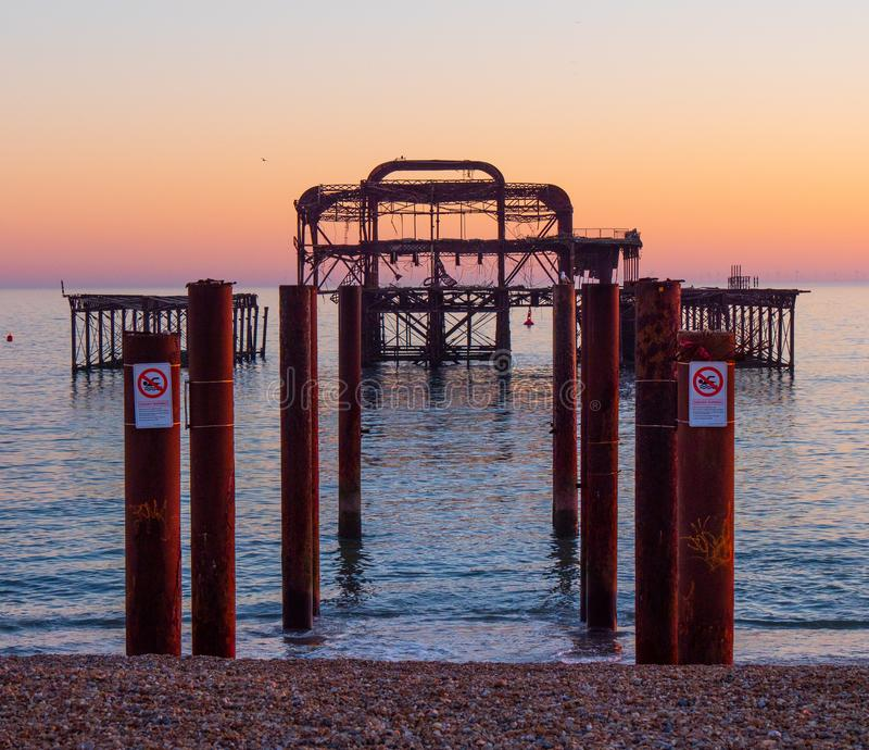 The remains of former Brighton Pier. Travel photography stock photos