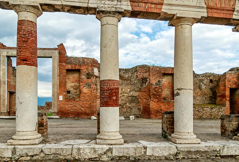 The remains of the ancient Forum Romanum in Pompeii, near modern Naples, Italy stock images