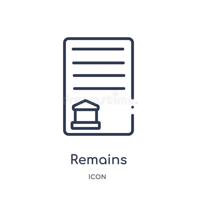 Remains icon from museum outline collection. Thin line remains icon isolated on white background royalty free illustration