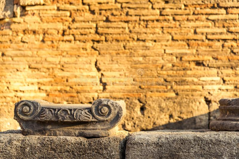 Remains of Ionic Column at the ancient archeological site royalty free stock photography
