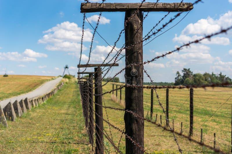 Remains of iron curtain near border of Czech republic stock photo
