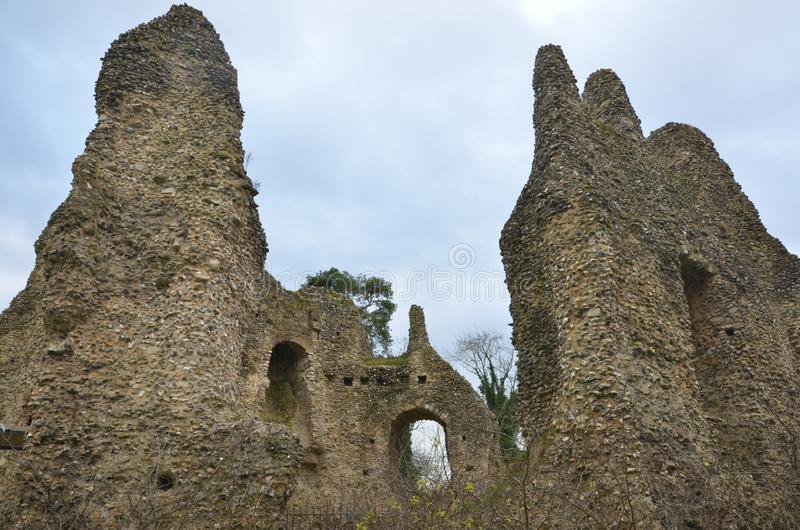 Remains of King`s John castle in Odiham. UK. Ruins of Historic castle, which king John of England used for hunting stock photography