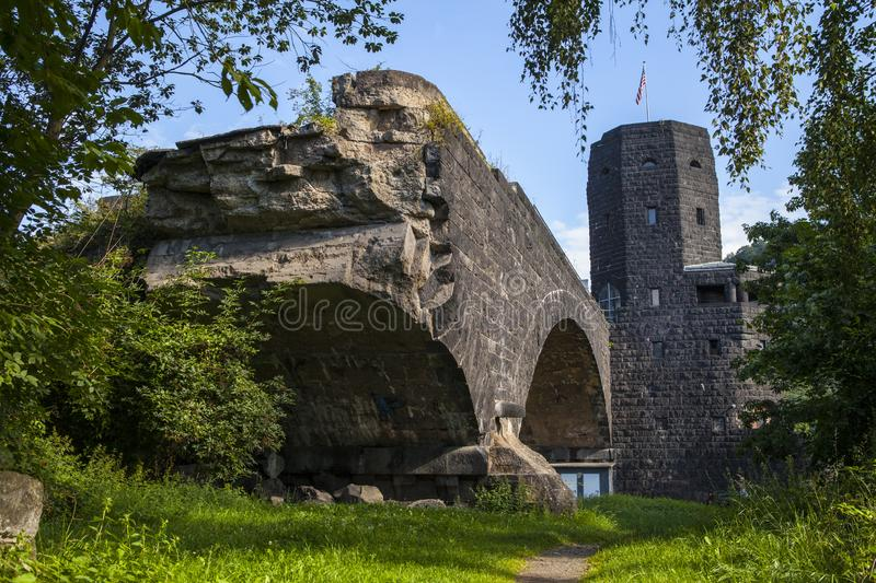 Remains of the Ludendorf Bridge in Remagen stock photo