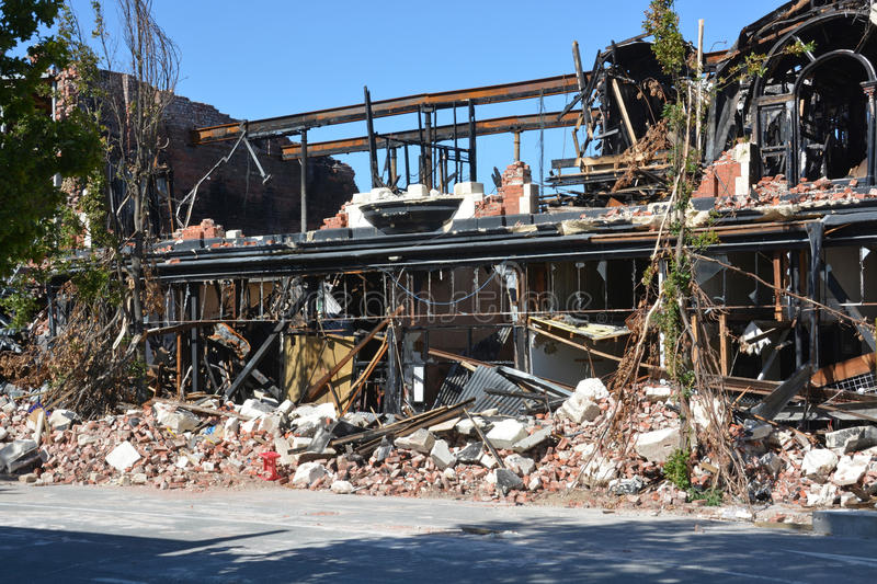 Remains of the McKenzie & Willis Building Christchurch. royalty free stock photos