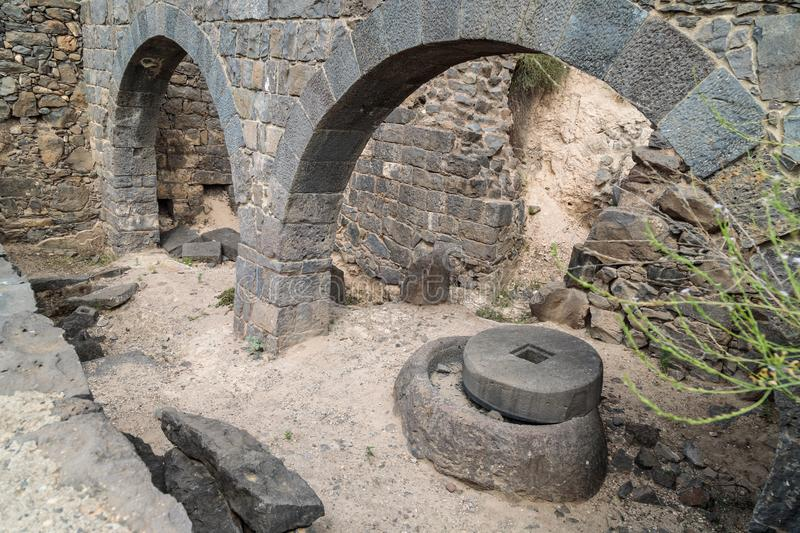 The remains of an oil refinery on the ruins of the ancient Jewish city of Gamla on the Golan Heights destroyed by the armies of th. The remains of an oil royalty free stock image
