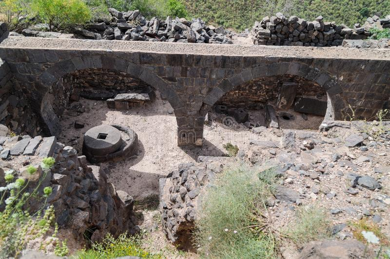 The remains of an oil refinery on the ruins of the ancient Jewish city of Gamla on the Golan Heights destroyed by the armies of th. The remains of an oil royalty free stock photos
