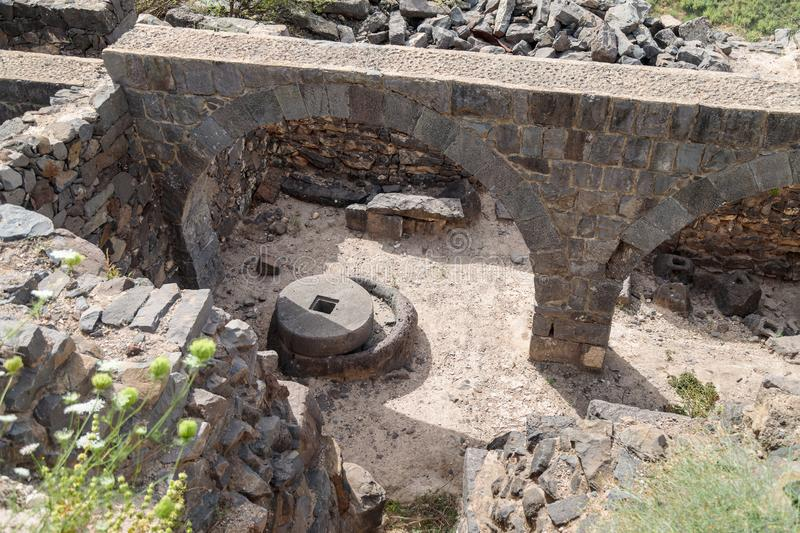 The remains of an oil refinery on the ruins of the ancient Jewish city of Gamla on the Golan Heights destroyed by the armies of th. The remains of an oil stock images